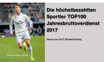 Top 100 Höchstbezahlte Sportler 2017 (Jahresbruttoverdienst)