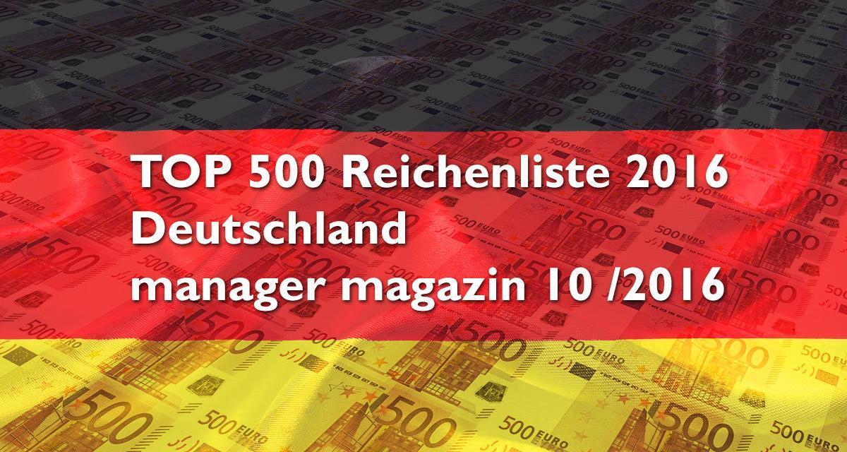 TOP500 Reichenliste Deutschland 2016 (manager magazin 10 / 2016)