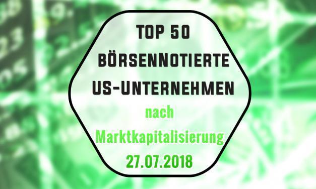 Top 50 US Unternehmen nach Marktkapitalisierung