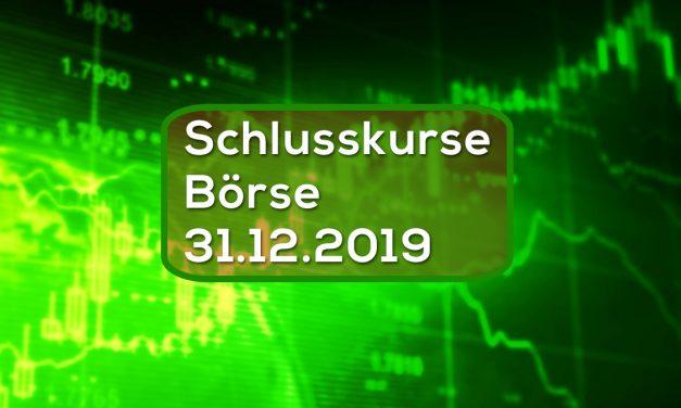 Schlusskurse Börse 31.12.2019