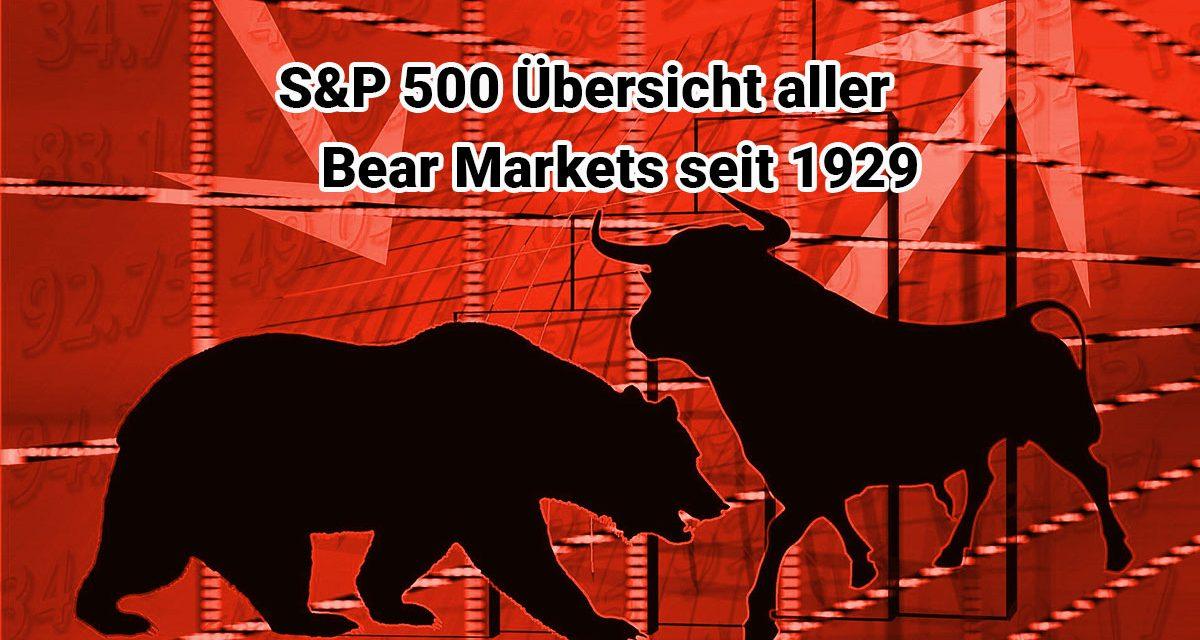 Übersicht S&P 500 Bear Markets seit 1929